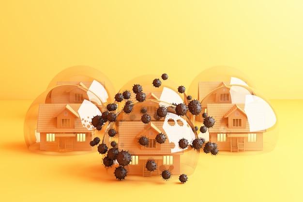 Bleib zu hause bleib ruhig slogan yellow house in einer glaskugel, die das coronavirus schützt