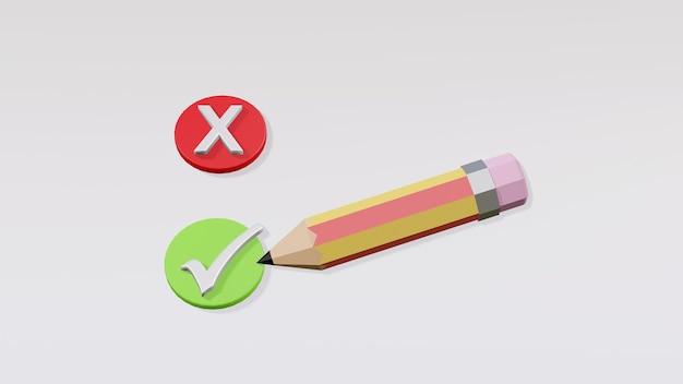 Bleistift mit häkchen oder häkchen und kreuzsymbol einzeln auf weißem hintergrund, richtige und falsche entscheidung, minimales design, feedback und umfragekonzept, 3d-rendering-darstellung