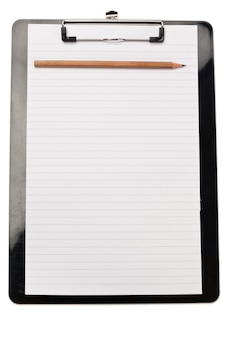 Bleistift oben auf dem notizblock