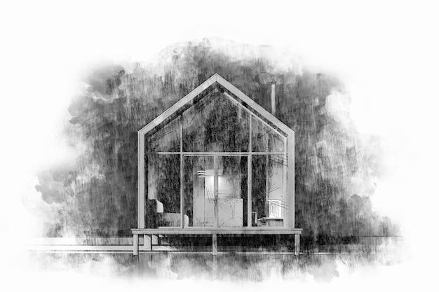 Bleistift- und aquarellzeichnung von hand eines modernen holzhauses mit hohem dach im skandinavischen stil auf weißem hintergrund. abendbeleuchtung und licht aus der windows.stock illustration.