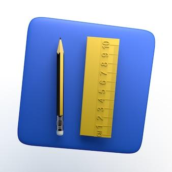 Bleistift und lineal-symbol auf weißem hintergrund. 3d-darstellung. app.