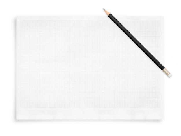 Bleistift und papierbogen mit gittermuster ..