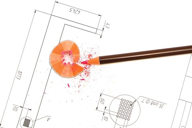 Bleistift und pläne eines architekten entwerfen zeichnungen