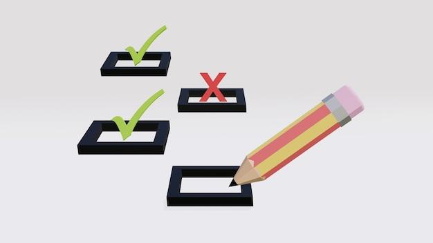 Bleistiftschreiben auf kontrollkästchen mit häkchen oder häkchen und kreuzsymbol in anderen kontrollkästchen