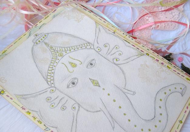 Bleistiftzeichnung von ganesha