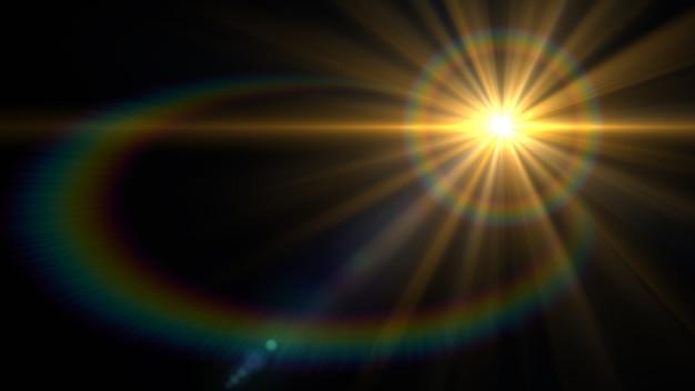 Blendenflecklicht über schwarzem hintergrund.