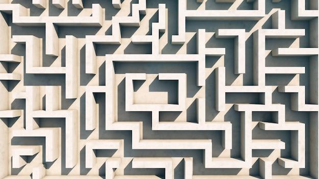 Blick auf das labyrinth von oben. steinmauern. keine leute.