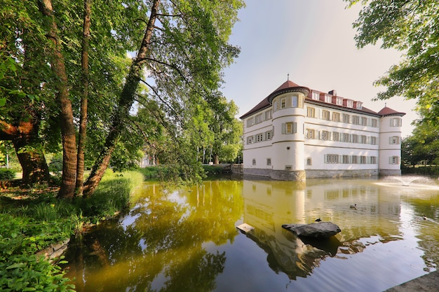 Blick auf das mit bäumen umgebene wasserschloss in bad rappenau, deutschland