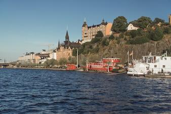 Blick auf das Stadtbild. Landschaften von Stockholm, Schweden.