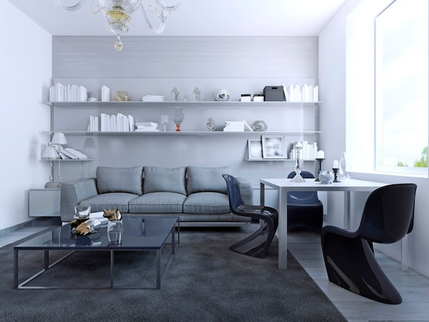 Blick auf das wohnzimmer mit esstisch. zeitgenössisches design der lounge mit weißen wänden, couchtisch aus glas, weißem esstisch mit eleganten gotischen stühlen. 3d-rendering