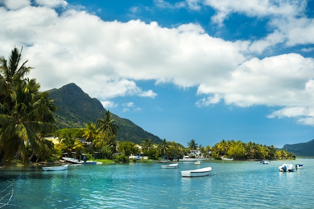 Blick auf den berg in le morne brabant und die bucht mit booten auf der insel mauritius im indischen ozean.