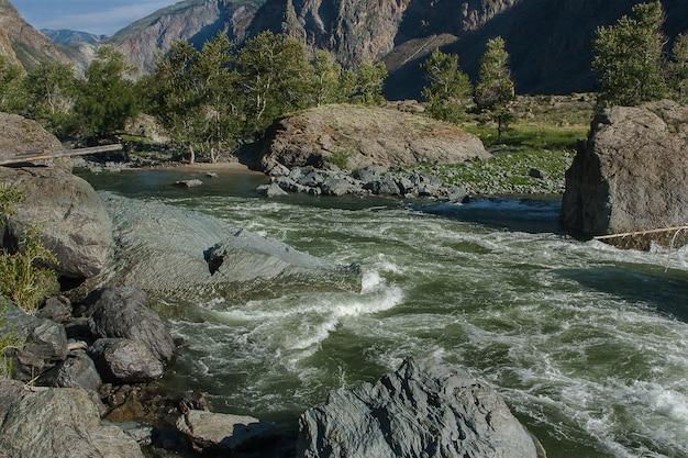 Blick auf den gebirgsfluss chulyshman am nachmittag im altai.