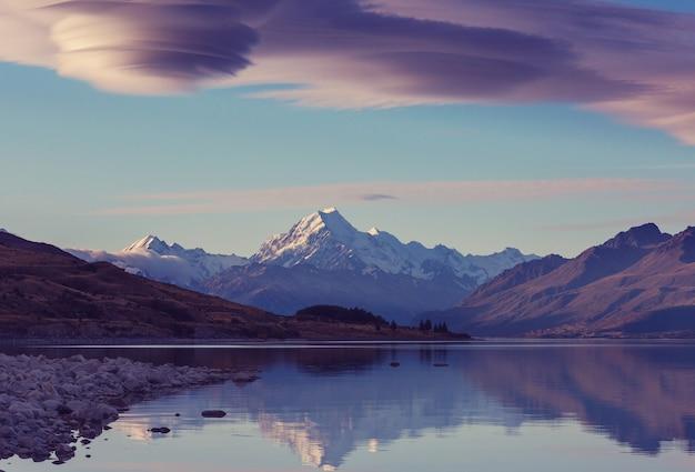 Blick auf den majestätischen aoraki mount cook, neuseeland