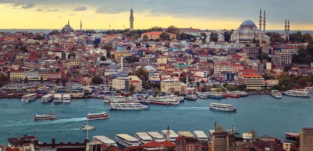 Blick auf die altstadt von istanbul und den bosporus. draufsicht auf den galataturm.