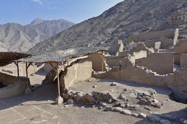 Blick auf die antiken ruinen der archäologischen zone huaycan