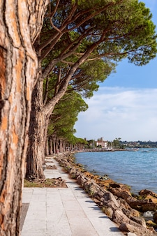 Blick auf die berühmte promenade am gardasee zwischen den städten lazise und bardolino