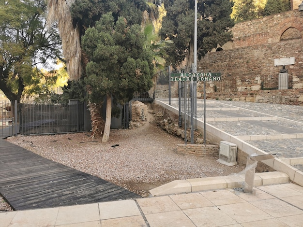 Blick auf die burg alcazaba in malaga