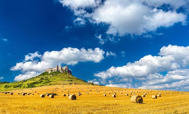 Blick auf die burg spissky hrad und ein feld mit rundballen in der slowakei mitteleuropa