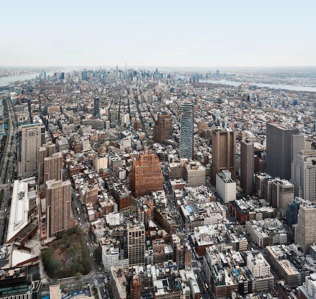 Blick auf die innenstadt von new york city manhattan