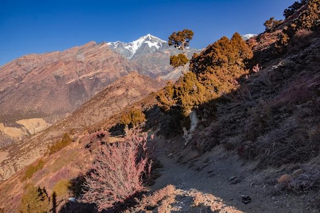 Blick auf die majestätischen herbstberge nepals beim trekking um annapurna