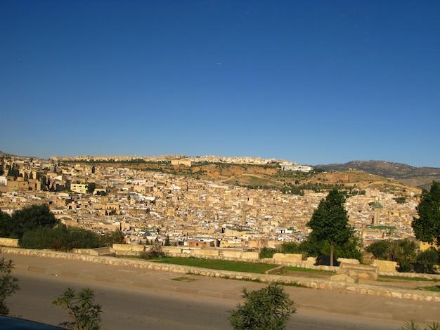 Blick auf die medina von fes, marokko
