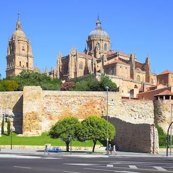 Blick auf die stadtmauer und die kathedralen in salamanca, spanien