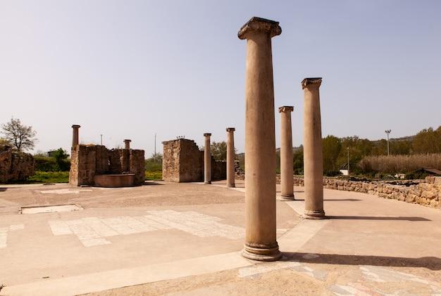 Blick auf die villa romana del casale, piazza armerina