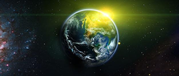 Blick auf erde, sonne, stern und galaxie. sonnenaufgang über dem planeten erde, blick aus dem weltraum. elemente dieses bildes werden von der nasa bereitgestellt