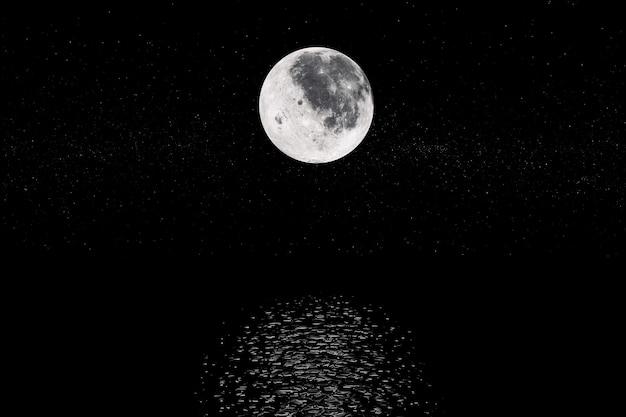 Blick auf full big super moon aus dem weltraum auf einem black sky stars hintergrund. elemente dieses von der nasa bereitgestellten bildes. 3d-rendering