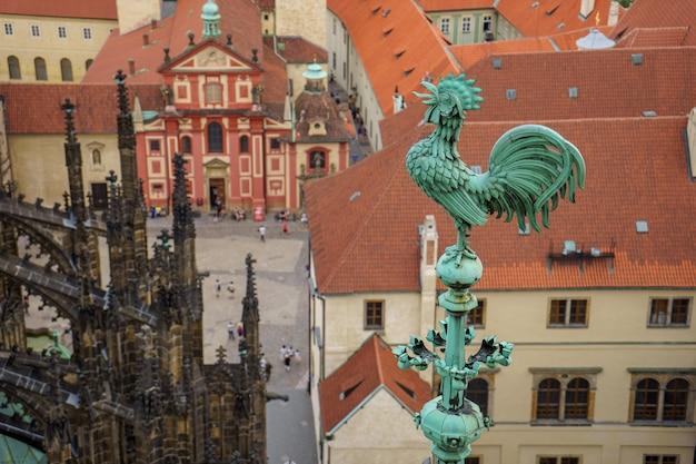 Blick auf stadt mit hahn vordergrund auf kathedrale in prag tschechische republik.