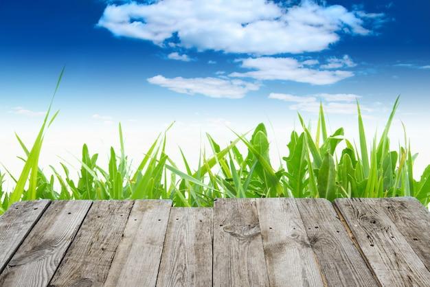 Blick vom leeren hölzernen deck tisch auf das grüne frühlingsgras und den blauen himmel mit wolken auf hintergrund