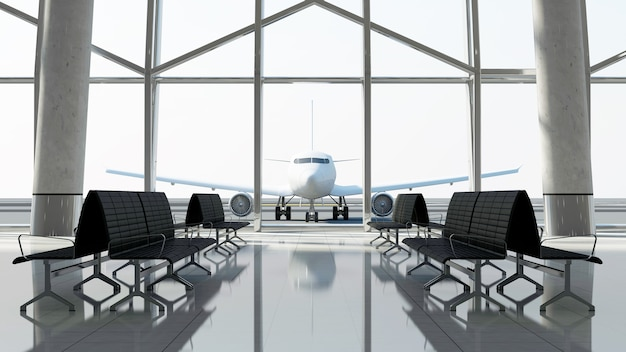 Blick vom terminal im passagierflugzeug
