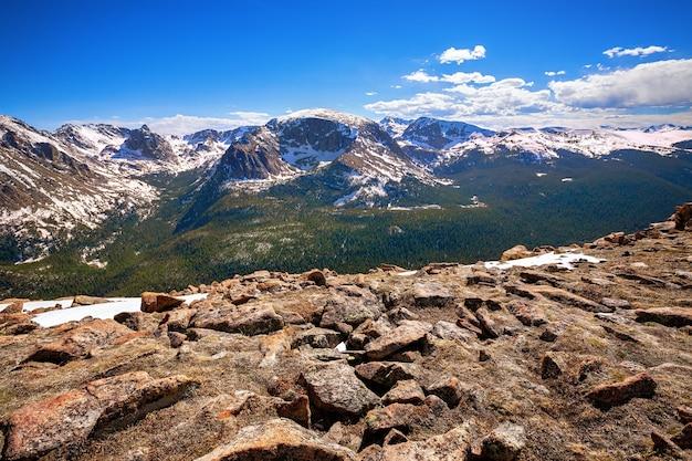 Blick vom waldschlucht-blick in den rocky mountains-nationalpark, colorado, usa