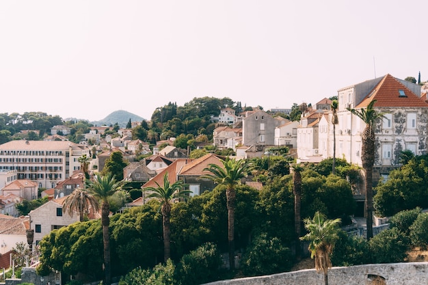 Blick von dubrovnik auf die moderne stadt außerhalb der mauern der altstadt