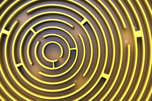 Blick von oben auf das kreisförmige labyrinth. gelbes thema.