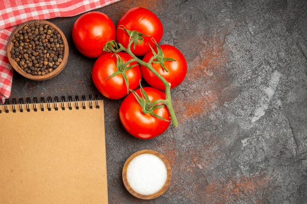 Blick von oben auf das notizbuch und die gewürze der reifen tomaten