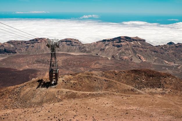Blick von oben auf den teide mit der infrastruktur der seilbahn