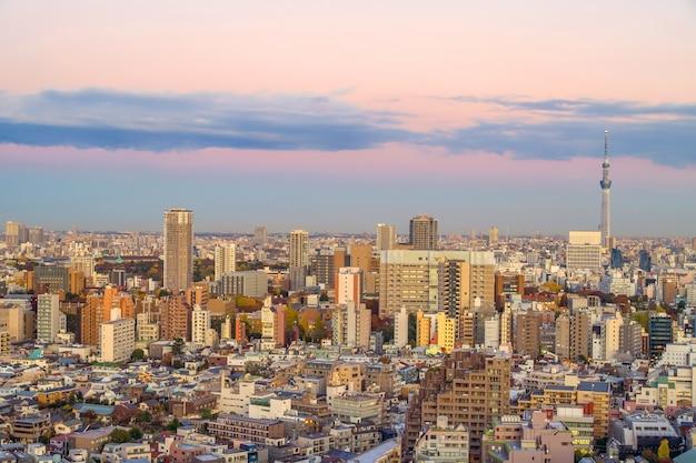 Blick von oben auf die skyline der stadt tokio (shinjuku-bereich) mit wunderschönem sonnenuntergang in japan.