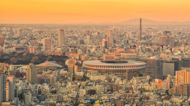 Blick von oben auf die skyline von tokio bei sonnenuntergang in japan.