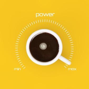 Blick von oben auf die tasse schwarzen kaffee als leistungskontrolle bei maximalem wert auf gelbem hintergrund. 3d-rendering