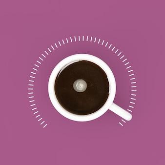 Blick von oben auf die tasse schwarzen kaffee als leistungskontrolle bei maximalem wert auf violettem hintergrund. 3d-rendering