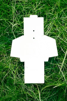 Blick von oben auf die weiße, leere, aufgeklappte schachtel für accessoires oder kleidungsetiketten auf grünem gras im sommer mit ...