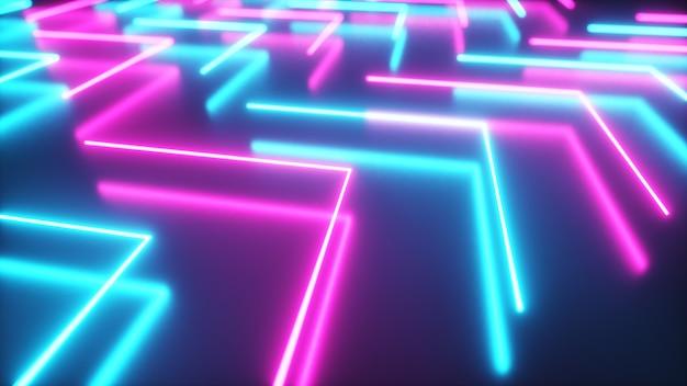 Blinkende helle neonpfeile leuchten auf und gehen aus, um die richtung auf dem reflektierenden boden anzuzeigen. abstrakter hintergrund, lasershow. ultraviolettes neonblaues violettes lichtspektrum. 3d-illustration