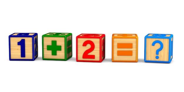 Block mit nummer auf leerzeichen. isolierte 3d-illustration