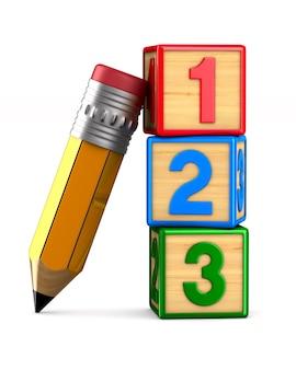 Block mit nummer und bleistift auf leerraum. isolierte 3d-illustration