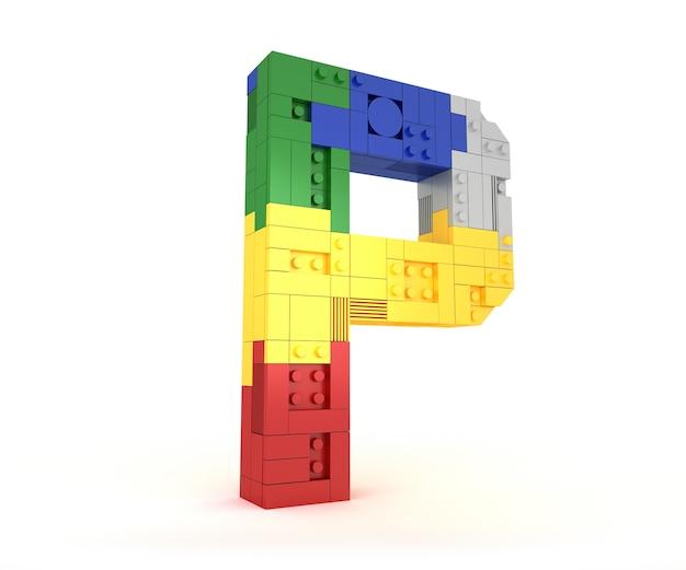 Block-ziegelsteinart des alphabetes bunte wiedergabe des perspektivenschrifttyps 3d auf weißem hintergrund