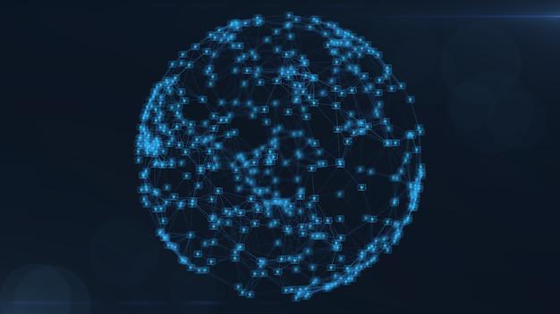 Blockchain-netzwerkkonzept. isometrische digitale blöcke quadratischen code große datenverbindung.