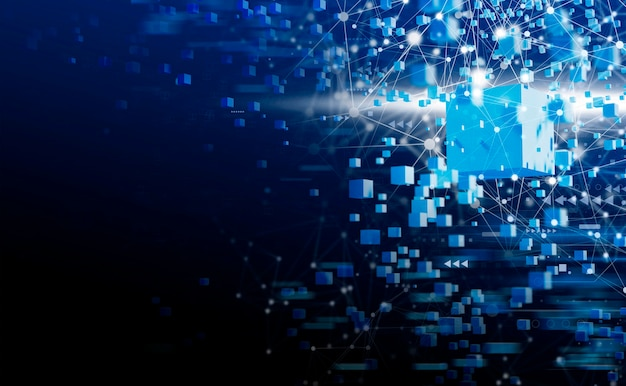 Blockchain-technologie mit netzwerkverbindung