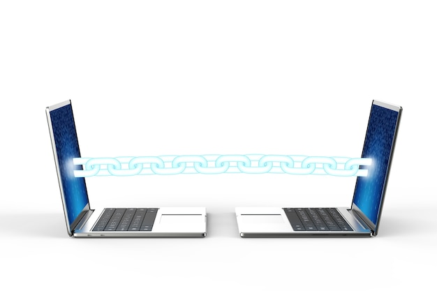Blockchain-technologiekonzept mit 3d-rendering-blaue kette verbinden computer