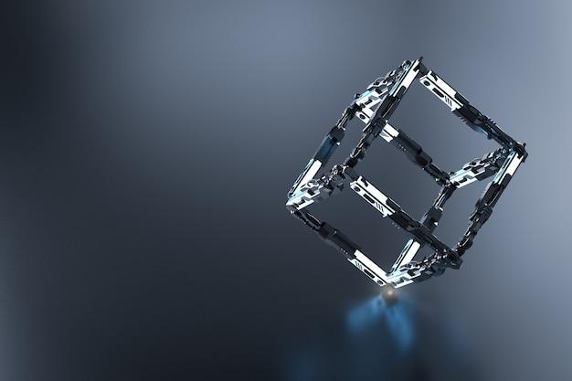 Blockchain-technologiekonzept mit 3d-rendering-blockverbindung